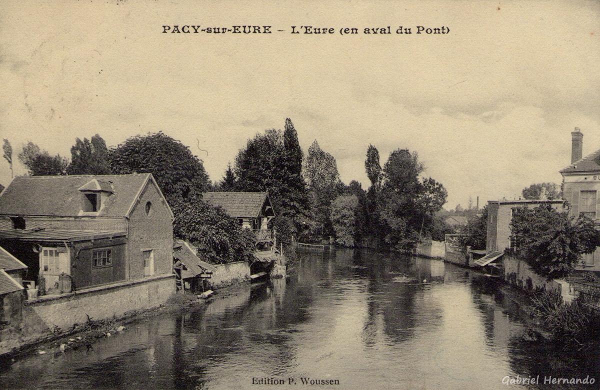 Pacy-sur-Eure, 1916 - L'Eure en aval du Pont