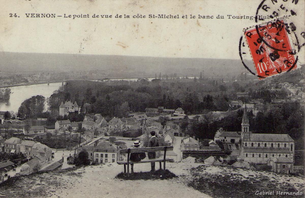 Vernon, 1908 - Le point de vue de la côte Saint-Maichel et le banc du Touring-Club