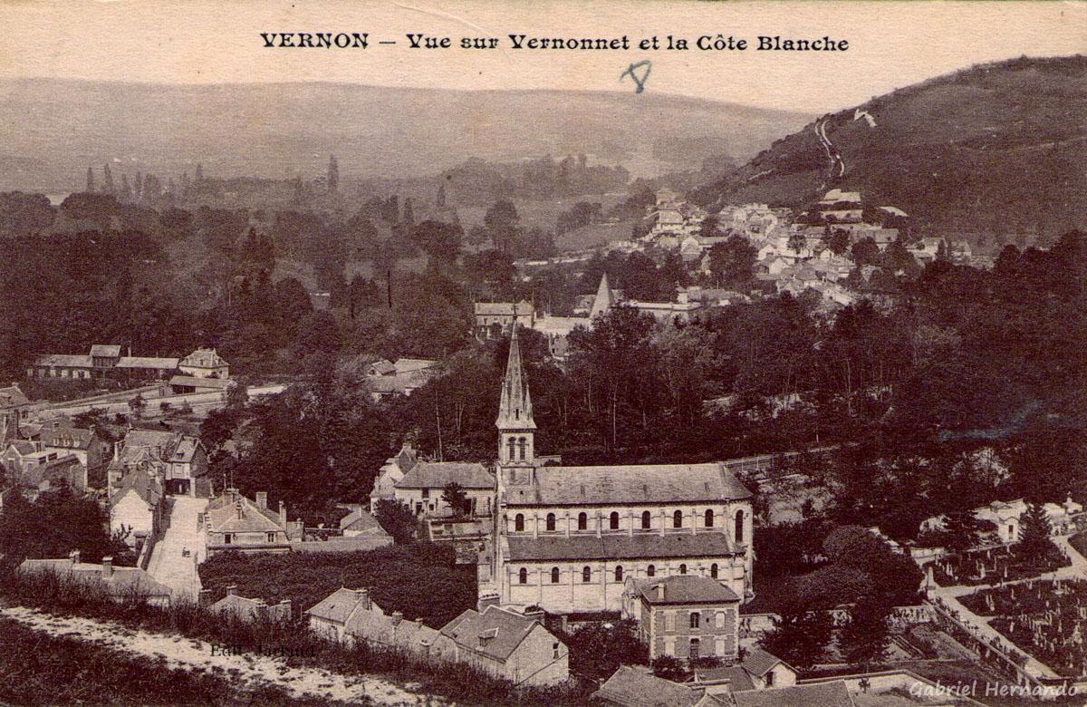 Vernon, 1915 - Vue sur Vernonnet et la Côte Blanche
