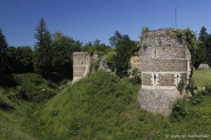 Restes de l'enceinte du château avec le fossé