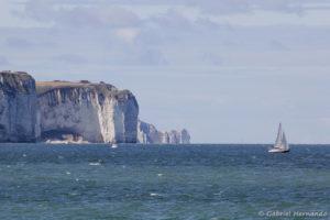 Les falaises vues de la plage de Fécamp (août 2020)